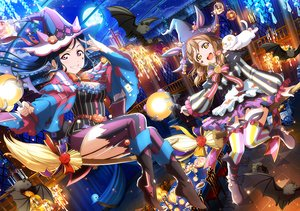 Rating: Safe Score: 42 Tags: 2girls animal bat blue_hair boots bow brown_eyes brown_hair cat clouds garter_belt halloween hat kunikida_hanamaru long_hair love_live!_school_idol_project love_live!_sunshine!! matsuura_kanan moon night purple_eyes short_hair sky stars stockings tagme_(artist) thighhighs witch_hat User: RyuZU