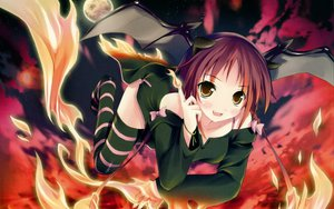 Rating: Safe Score: 134 Tags: demon fire horns kantoku moon night thighhighs wings User: Wizzard