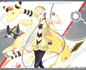 Rating: Safe Score: 85 Tags: ampharos blonde_hair blue_eyes choker emolga gloves group headphones jolteon kamitsure marumoru navel pantyhose pokemon short_hair wristwear User: Flandre93