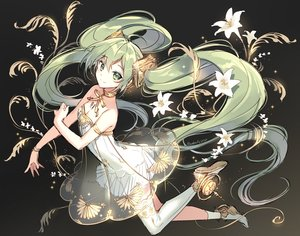 Rating: Safe Score: 82 Tags: breasts cleavage cropped dress flowers gradient green_eyes green_hair hatsune_miku long_hair nardack see_through signed sketch tattoo thighhighs twintails vocaloid User: otaku_emmy