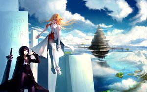 Rating: Safe Score: 111 Tags: black_eyes black_hair blackrabbitsoul blonde_hair brown_eyes cape clouds elbow_gloves gloves kirigaya_kazuto scenic skirt sky sword sword_art_online thighhighs weapon yuuki_asuna zettai_ryouiki User: Tensa