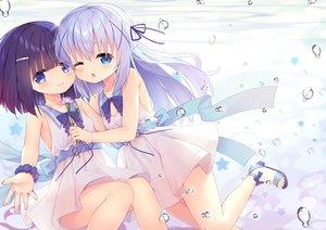 Rating: Safe Score: 76 Tags: 2girls aqua_eyes blush bubbles dress flowers fuiba_fuyu gochuumon_wa_usagi_desu_ka? kafuu_chino loli long_hair purple_hair short_hair summer_dress taku_michi wink User: BattlequeenYume