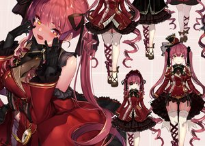 Rating: Safe Score: 83 Tags: akasaai bicolored_eyes blush bow corset eyepatch garter_belt gloves goth-loli hat headdress hololive houshou_marine lolita_fashion long_hair red_hair ribbons stockings thighhighs twintails User: BattlequeenYume