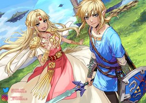 Rating: Safe Score: 18 Tags: aliasing aqua_eyes blonde_hair cape clouds dress grass headdress link_(zelda) logo long_hair male pointed_ears ponytail princess_zelda sky sword ten-chan_(eternal_s) the_legend_of_zelda watermark weapon wristwear User: otaku_emmy