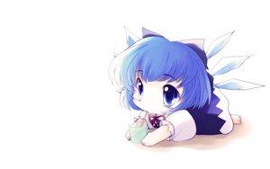 Rating: Safe Score: 49 Tags: blue_eyes blue_hair cat_smile chibi cirno drink fairy ribbons touhou white wings yume_shokunin User: SciFi