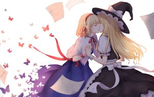 Rating: Safe Score: 32 Tags: 2girls alice_margatroid blonde_hair bow butterfly dress hat kirisame_marisa kiss long_hair ribbons shi_yu_mu_yun short_hair shoujo_ai touhou witch_hat yellow_eyes User: BattlequeenYume