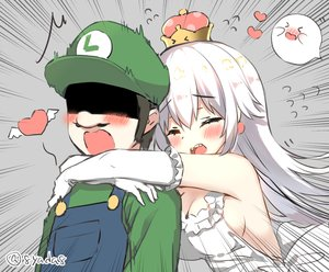 Rating: Safe Score: 70 Tags: blush boo breasts cleavage close crown dress elbow_gloves genderswap gloves hat heart hug long_hair luigi luigi's_mansion male princess_king_boo sideboob signed super_mario_bros waifu2x white_hair yadapot User: otaku_emmy