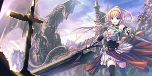 Rating: Safe Score: 32 Tags: armor blonde_hair breasts building cleavage clouds dragon dress elbow_gloves gloves green_eyes long_hair ponytail scenic sky sword tenmaso thighhighs weapon User: BattlequeenYume