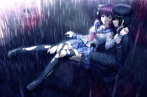 Rating: Safe Score: 38 Tags: angel_beats! black_eyes black_hair blood bra game_cg green_eyes hat headband long_hair na-ga nakamura_yuri naoi_ayato purple_hair rain see_through shirt short_hair skirt thighhighs torn_clothes underwear water wet User: RyuZU