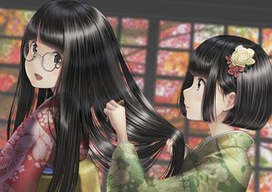 Rating: Safe Score: 49 Tags: 2girls autumn black_hair brown_hair close glasses japanese_clothes kimono long_hair original sarekoube short_hair User: otaku_emmy