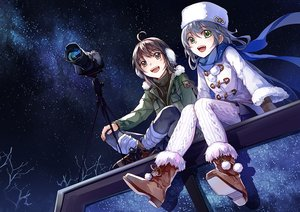 Rating: Safe Score: 39 Tags: 2girls boots brown_eyes brown_hair camera earmuffs feng_you gloves gray_hair green_eyes hat hoodie luo_tianyi night scarf sky stars stockings vocaloid vocaloid_china winter yuezheng_ling User: otaku_emmy