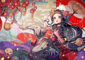 Rating: Safe Score: 94 Tags: animal ball brown_eyes brown_hair cat flowers headdress japanese_clothes kimono long_hair marimari momoshiki_tsubaki ribbons show_by_rock!! umbrella User: FormX