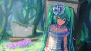 Rating: Safe Score: 51 Tags: aqua_hair choker flowers grass hatsune_miku headdress sleeping sombernight tree twintails vocaloid User: humanpinka