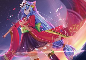 Rating: Safe Score: 62 Tags: aliasing animal_ears aqua_hair clouds japanese_clothes knoy3356 long_hair mask original red_eyes skirt sky sunset thighhighs water User: gnarf1975
