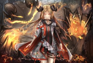 Rating: Safe Score: 68 Tags: arknights blonde_hair cape demon fire horns ifrit_(arknights) kayjae watermark User: PrimalAgony