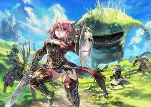Rating: Safe Score: 143 Tags: animal_ears aoin_(omegaboost) armor blush final_fantasy final_fantasy_xiv pink_hair red_eyes sword thighhighs weapon User: Flandre93