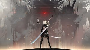 Rating: Safe Score: 218 Tags: boots dress headband industrial katana nier nier:_automata pantyhose pod_(nier:_automata) robot sein_(tgf19911119) short_hair sword thighhighs weapon white_hair yorha_unit_no._2_type_b User: RyuZU