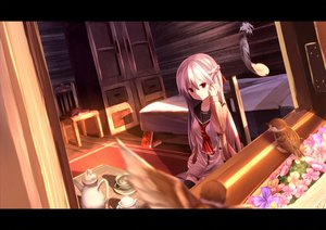 Rating: Safe Score: 121 Tags: animal bed bird book drink feathers flowers kagayan1096 long_hair original red_eyes thighhighs white_hair User: Flandre93