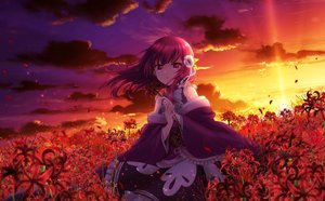 Rating: Safe Score: 77 Tags: aliasing clouds corset flowers long_hair magia_record:_mahou_shoujo_madoka_magica_gaiden mahou_shoujo_madoka_magica naga_(pixiv) red_hair sky sunset tokiwa_nanaka User: BattlequeenYume