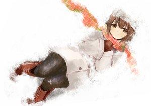 Rating: Safe Score: 74 Tags: boots brown_eyes brown_hair gloves hagiwara_yukiho hat idolmaster pantyhose scarf short_hair snow tsukimura User: mattiasc02