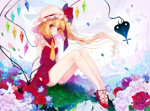 Rating: Safe Score: 41 Tags: aliasing blonde_hair butterfly daimaou_ruaeru flandre_scarlet flowers grass ponytail red_eyes rose tie touhou vampire wings User: FormX