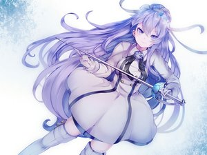 Rating: Safe Score: 60 Tags: dress gloves long_hair purple_eyes purple_hair sword tagme_(character) weapon yaekn User: BattlequeenYume