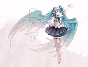 Rating: Safe Score: 44 Tags: aqua_hair boots elbow_gloves gloves hatsune_miku ikushima long_hair magical_mirai_(vocaloid) signed skirt thighhighs twintails vocaloid wings User: luckyluna