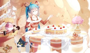 Rating: Safe Score: 75 Tags: animal aqua_hair bai_yemeng cake cat cherry crossover flowers food fruit hatsune_miku jerry_(tom_and_jerry) long_hair mouse ribbons tom_and_jerry tom_(tom_and_jerry) twintails vocaloid User: RyuZU