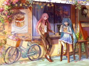 Rating: Safe Score: 29 Tags: 2girls aqua_eyes bicycle blue_eyes blue_hair cake flowers food hatsune_miku kirayoci long_hair megurine_luka pink_hair socks twintails vocaloid User: Flandre93