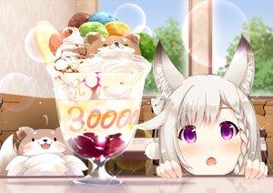 Rating: Safe Score: 42 Tags: animal animal_ears animare blush braids food foxgirl gray_hair ice_cream purple_eyes sch shiromiya_mimi User: RyuZU