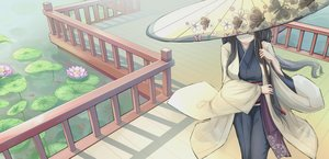 Rating: Safe Score: 40 Tags: black_hair japanese_clothes kikivi kimono long_hair original umbrella water User: luckyluna