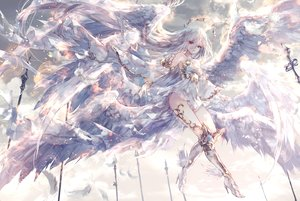 Rating: Safe Score: 101 Tags: clouds dress feathers long_hair onineko original polychromatic sky white_hair wings User: BattlequeenYume