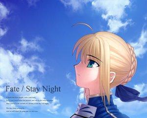 Rating: Safe Score: 23 Tags: artoria_pendragon_(all) blonde_hair bow clouds fate_(series) fate/stay_night green_eyes saber sky takeuchi_takashi type-moon User: Oyashiro-sama