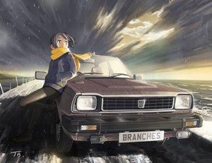 Rating: Safe Score: 18 Tags: black_eyes black_hair car clouds jettoburikku original pantyhose rain scarf short_hair signed skirt sky water User: RyuZU
