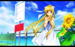 Rating: Safe Score: 71 Tags: air blonde_hair blue_eyes dress duplicate flowers kamio_misuzu long_hair moonknives summer_dress sunflower User: gnarf1975