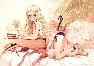 Rating: Safe Score: 64 Tags: ass barefoot bed blonde_hair blue_eyes blush book littlewitch long_hair oyari_ashito umbrella User: BattlequeenYume