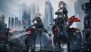 Rating: Safe Score: 72 Tags: 2girls animal black_hair building car cat city gray_eyes gray_hair gun motorcycle original rain short_hair skirt sky swav thighhighs water weapon zettai_ryouiki User: BattlequeenYume