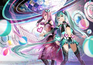 Rating: Safe Score: 117 Tags: 2girls fuji_choko green_eyes green_hair hatsune_miku long_hair megurine_luka navel pink_hair project_diva skirt thighhighs twintails underboob vocaloid waifu2x watermark User: BattlequeenYume