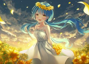 Rating: Safe Score: 45 Tags: aqua_hair blush clouds dress flowers ia_(ia_ju72) long_hair necklace original petals sky summer_dress sunset tears twintails yellow_eyes User: otaku_emmy