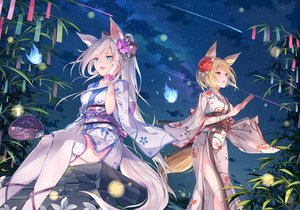 Rating: Safe Score: 93 Tags: 2girls animal_ears aqua_eyes blonde_hair clouds flowers foxgirl fuuro_(johnsonwade) gray_hair japanese_clothes kimono night orange_eyes original ponytail short_hair sky tail thighhighs User: BattlequeenYume