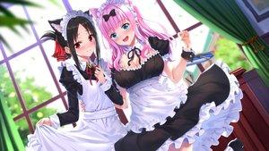 Rating: Safe Score: 61 Tags: 2girls animal_ears apron aqua_eyes black_hair blush breasts catgirl cleavage fujiwara_chika hug kaguya-sama_wa_kokurasetai_~tensai-tachi_no_renai_zunousen~ long_hair maid pink_hair red_eyes shinomiya_kaguya skirt_lift swordsouls wristwear User: sadodere-chan