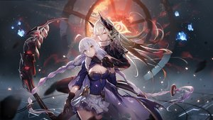 Rating: Safe Score: 106 Tags: 2girls bicolored_eyes blonde_hair braids breasts cape clare_(543) cleavage gloves long_hair original skirt thighhighs torn_clothes twintails weapon white_hair User: BattlequeenYume
