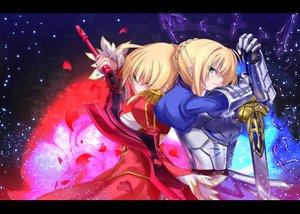 Rating: Safe Score: 176 Tags: 2girls armor artoria_pendragon_(all) fate/extra fate_(series) fate/stay_night kyougoku_touya nero_claudius_(fate) saber sword weapon User: HawthorneKitty