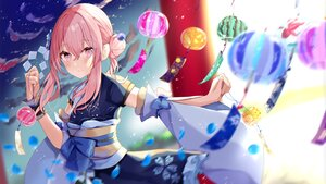 Rating: Safe Score: 38 Tags: blush bow japanese_clothes kimono long_hair original petals pink_eyes pink_hair sinobi_illust sky stars torii wristwear User: otaku_emmy