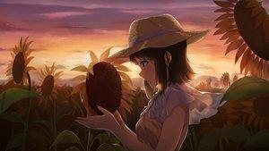 Rating: Safe Score: 40 Tags: brown_hair clouds dark flowers hat narumi_nanami original scenic short_hair sky sunflower sunset User: RyuZU