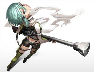 Rating: Safe Score: 219 Tags: ass blue_eyes green_hair gun gun_gale_online scarf shinon_(sao) short_hair shorts sword_art_online tef weapon User: Flandre93