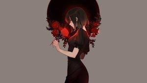 Rating: Safe Score: 70 Tags: black_eyes black_hair dress e7_(runaway162) flowers gray original rose short_hair User: mattiasc02