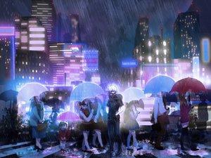 Rating: Safe Score: 54 Tags: building city group kaneki_ken male night rain tokyo_ghoul umbrella water white_hair User: humanpinka