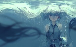 Rating: Safe Score: 163 Tags: aqua_eyes aqua_hair hatsune_miku headphones kklaji008 long_hair tie twintails underwater vocaloid water User: Flandre93