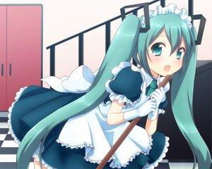 Rating: Safe Score: 87 Tags: hatsune_miku maid mani twintails vocaloid User: HawthorneKitty